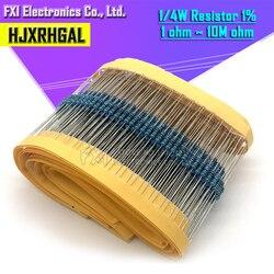 100 шт. 1/4W 1R ~ 22M 1% металлического пленочного резистора 100R 220R 1K 1,5 K 2,2 K 4,7 K 10K 22K 47K 100 к 100 220 1K5 2K2 4K7 ohm Сопротивление