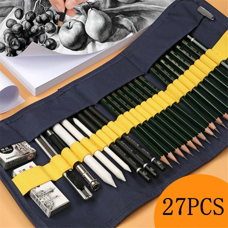 27 pecas por conjunto de lapis esboco conjunto iniciante pintura desenho ferramentas estudantes profissionais com arte
