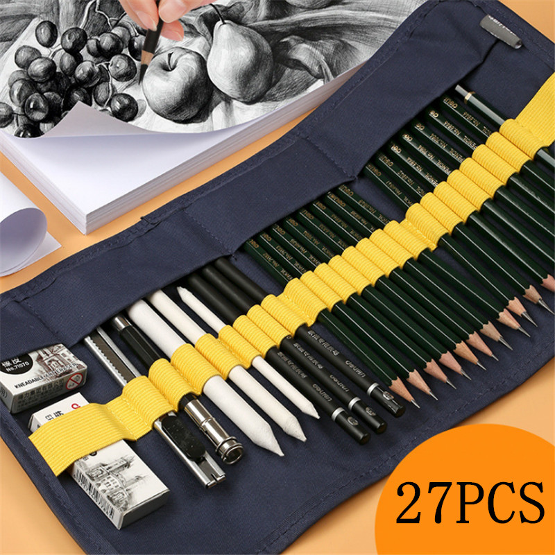 27 Pieces Per Set Sketch Pencil Set Beginner Painting Drawing Tools Professional Students With Art Supplies Painting Adult Set