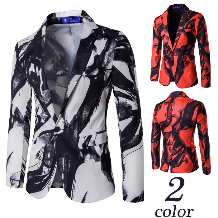 2019 Western Style Cool One-Button Suit Ink Printed Suit Best Man Formal Dress Costume X972