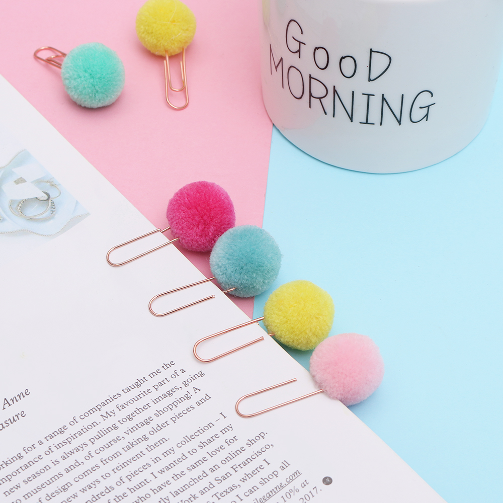 10 Pcs Cute Plush Ball Paper Clip Diy Paperclips Decorative Planner Binder Memo Photo Clips Office Accessories School Stationery