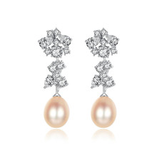 YUEYIN 925 Sterling Silver Earrings Pearl for Women Winter Flower Fine Party Jewelry