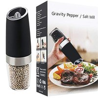 Electric Salt and Pepper Grinder Stainless Steel Pepper and Salt Mill with LED Light for Different Cooked Food