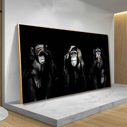 AAHH Big Size Poster Canvas Painting Animal Wall Art Dark 3 Funny Monkey Poster and Print for Living Room Home Decor