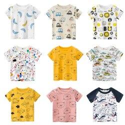 Футболки для мальчиков и девочек с мультяшным рисунком, Детская футболка с принтом машинки для мальчиков, Детская летняя футболка с коротки...