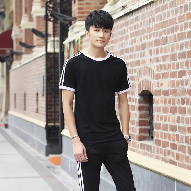 2019 New Style Couples Sports Set Summer Short-sleeved Trousers Sports Clothing Men And Women Pure Cotton Casual Jogging Suits