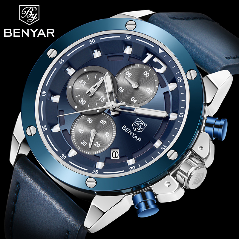 BENYAR Men's Multifunction Watch Top Luxury Brand Business Quartz Chronograph Leather Waterproof Male Watches Relogio Masculino