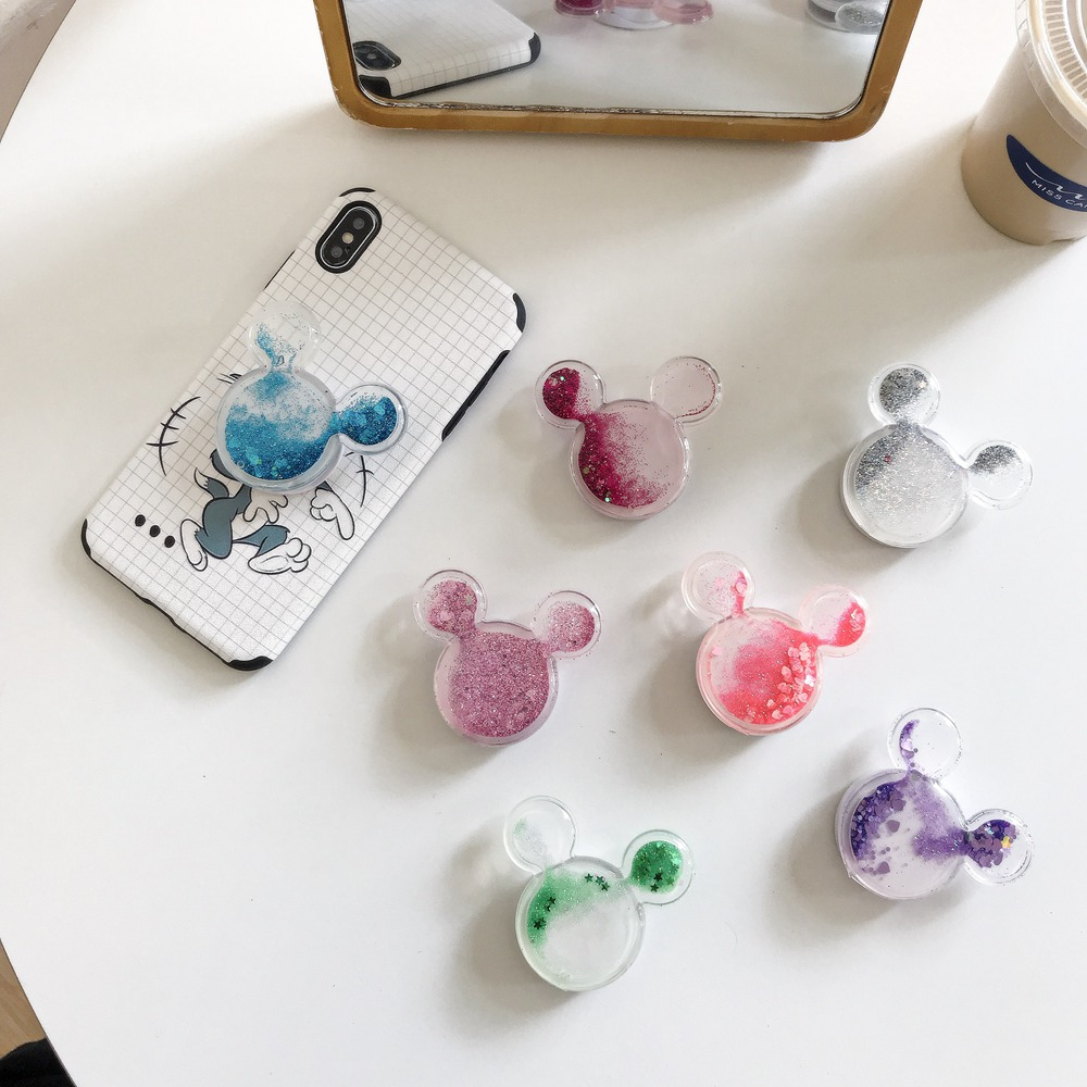 Universal Cute Glitter Quicksand Fold Expanding Bracket Finger Holder For IPhone 11 Pro Huawei XIaom Phone Support Suporte Stand