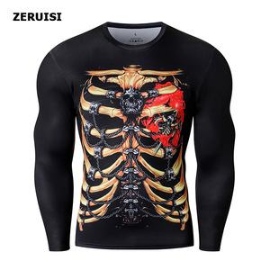 Image 3 - New Arrival 3D Printed T shirts Men Compression Shirt Costume Long Sleeve Tops For Male Fitness Hip hop Clothing
