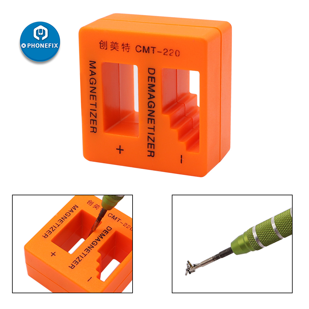 PHONEFIX Magnetizer Demagnetizer Precision Magnetizing Demagnetizing Orange Pick Up Tool For Screwdriver Tweezers Gauss Degauss