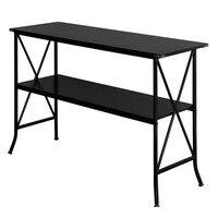 Artisasset Black MDF Countertop Black Wrought Iron Base 2 Layers Console Table Bookshelf Iron Shelves