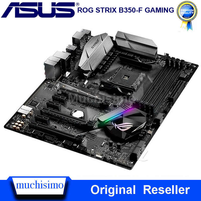 Utilizzato Presa AM4 Asus ROG STRIX B350-F GAMING Scheda Madre AMD B350 DDR4 64GB Desktop Asus B350 Mainboard AM4 PCI-E 3.0 DDR4