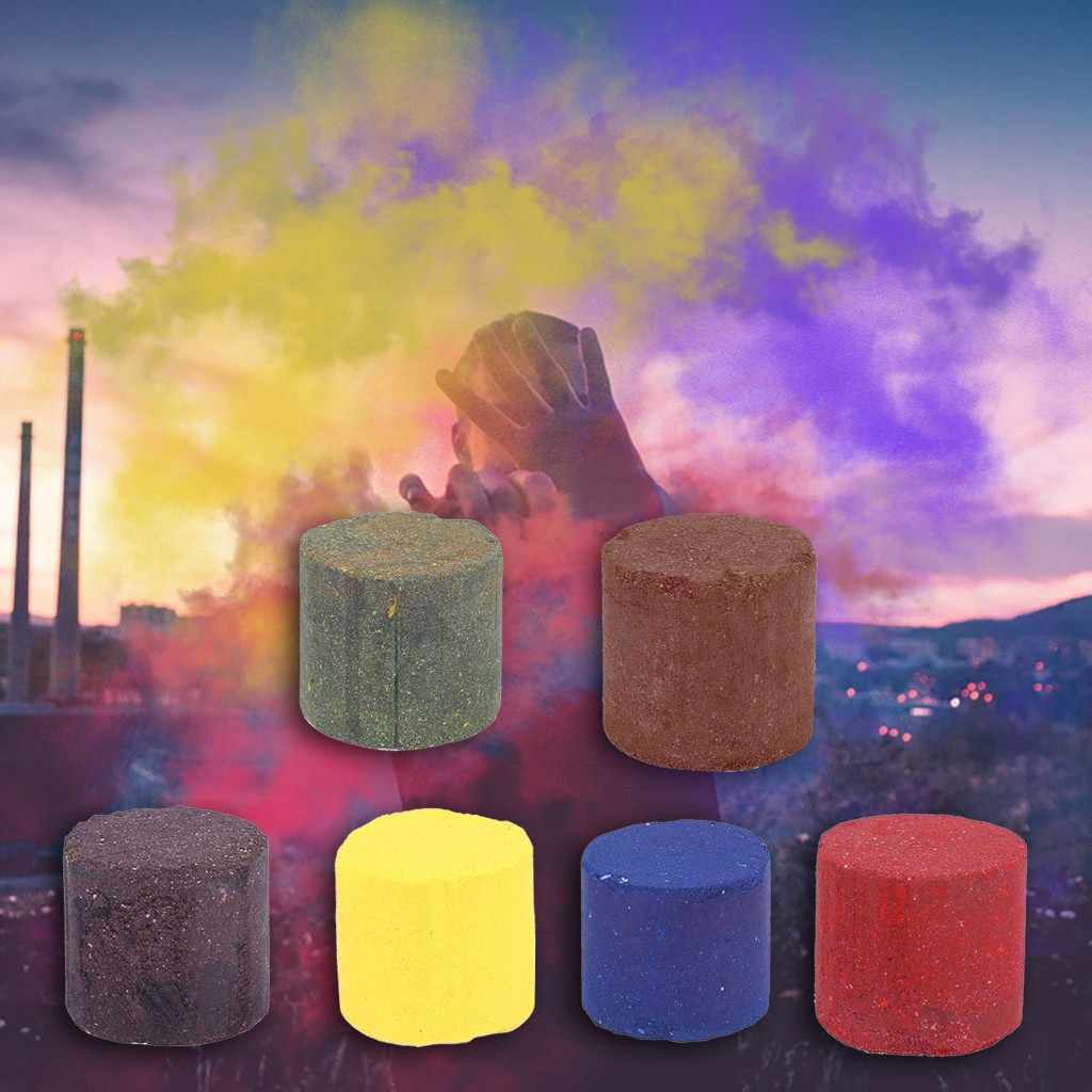 1/6 PC colorful Smoke Pills Party Props Combustion Smog Cake Effect Smoke Bomb Pills Portable Photography Prop smoke effect ST06