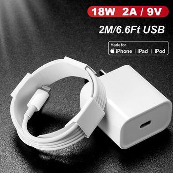 PD 18W 2/3A 5 V/9 V TYPE C USB C à la foudre câble chargeur rapide adaptateur pour iPhone 11 11Pro Max XS XR pour iPad mini Pro Air|Chargeurs de téléphone portable| |  -