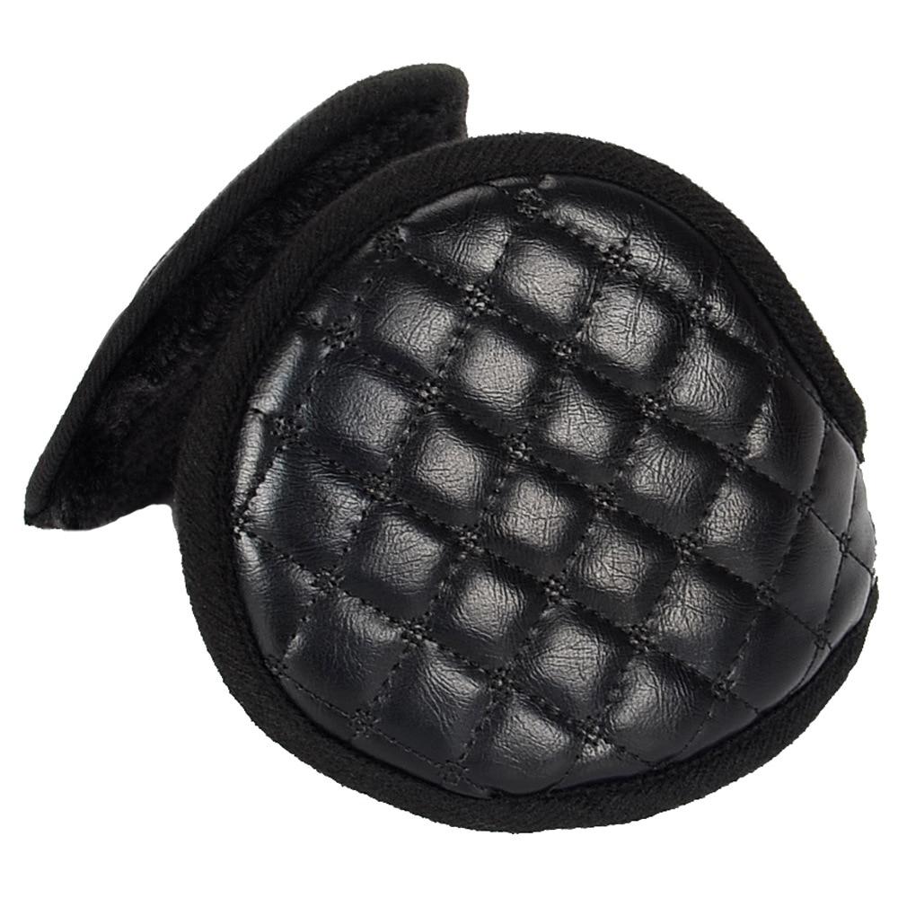 New Imitation Leather Earmuffs Men Fashion Plaid Warm 56-60CM Pure Color Elastic Simple Style High Quality Coldproof Earmuffs