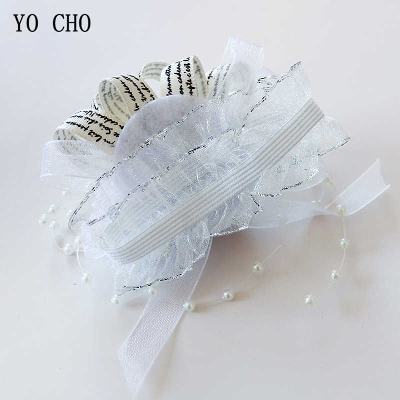 Yo Cho Sposa Polso Corsage Braccialetto di Cerimonia Nuziale Della Sposa Damigella D'onore Del Fiore Della Ragazza di Partito Prom Polso Bouquet di Rosa di Seta di Nozze Fiori