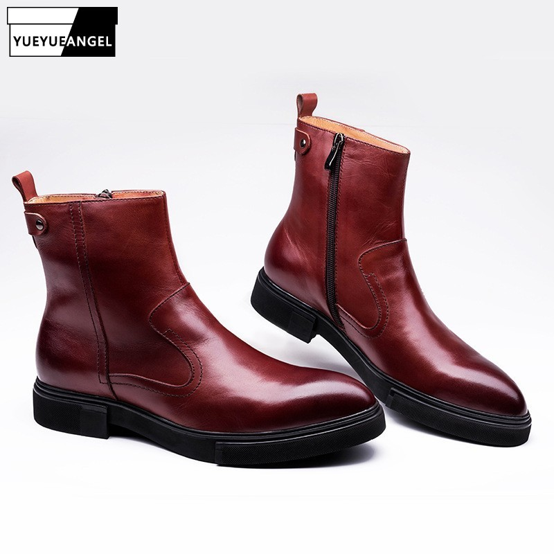 British Pointed Toe Genuine Leather Boots Men Luxury Zip Wedding Office Dress Boots Black/Wine Red Autumn High Top Shoes Man
