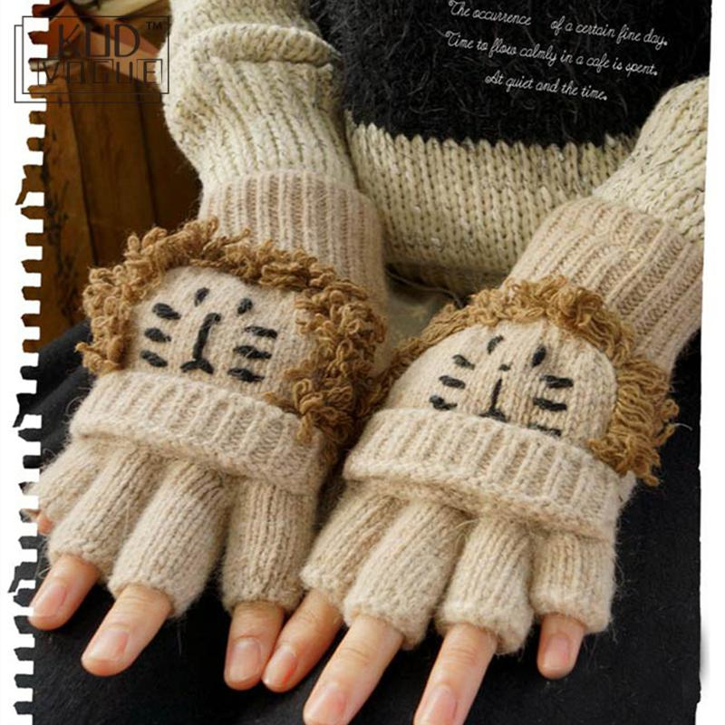Mori Girl Lolita Kawaii Half Finger Cartoon Lovely Bear Lion Winter Wool Gloves Warm Thicken Fingerless Gloves Luvas De Inverno