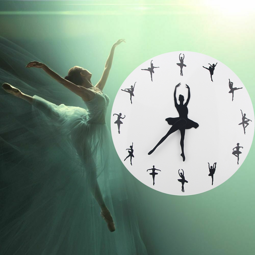 Ballet Time Wall Clock Ballerina Dancer Yoga Postures Decorative Clock Wall Watch Girl Room Dancing Studio Decor Ballet 3D Clock