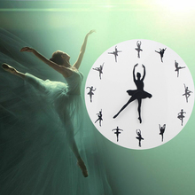 Ballet Time Wall Clock Ballerina Dancer Yoga Postures Decorative Watch Girl Room Dancing Studio Decor 3D