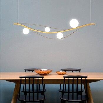 Скандинавская Люстра для ресторана и бара, длинная креативная индивидуальная лампа, Роскошный дизайнерский стеклянный светильник с абажур