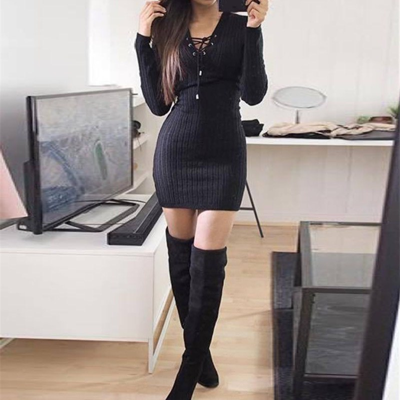 Nice Women Knitted Lace Up Sweater Dress Sexy Club Party Bodycon Dress V Neck Long Sleeve Mini Dresses - 2