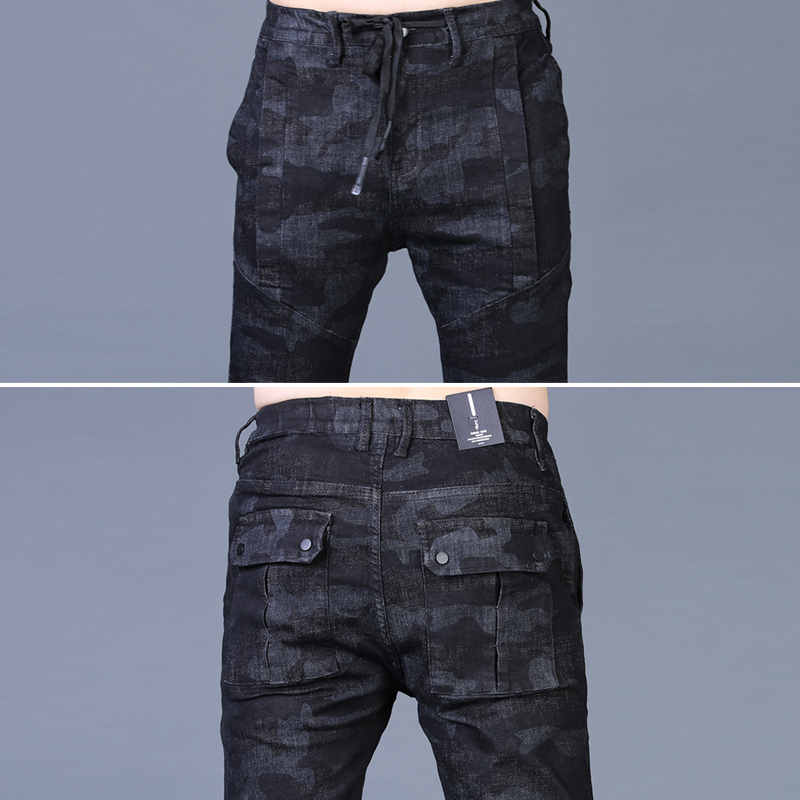 Free shipping new fashion men's male casual Original camouflage jeans men plus velvet autumn stitching pants Slim Korean C3129 72