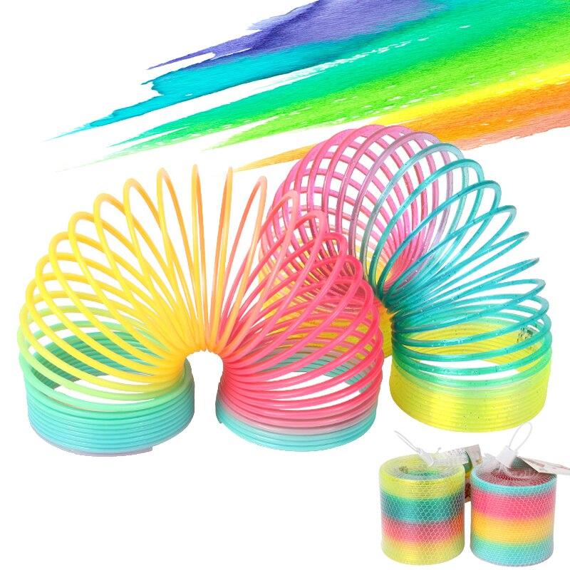 Arco-íris primavera bobina brinquedos de plástico dobrável primavera bobina jogo de esportes criança engraçado moda educacional brinquedos criativos presente para crianças