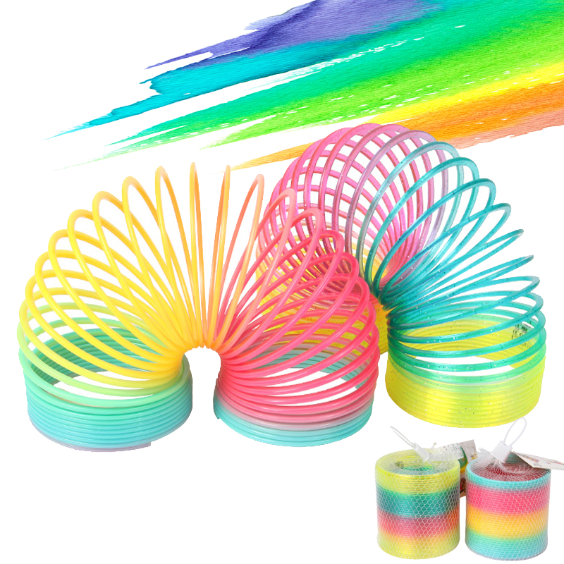 Jouets bobine de printemps arc-en-ciel, jouets, bobine pliable en plastique, jeu de sport amusant, à la mode, éducatifs et créatifs, cadeau pour enfants