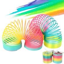 Bobina de arco-íris de plástico, brinquedo dobrável, para esportes, criança, divertido, educacional, brinquedos criativos, presente para crianças
