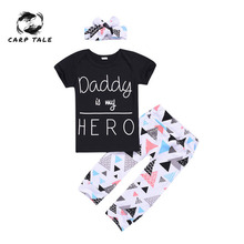 Newest 3pcs Kid Infant Baby Boy Clothing Short Sleeve Letter Tops T-shirt+Leggings Pants+headband Outfit Clothes Set 6-24Month