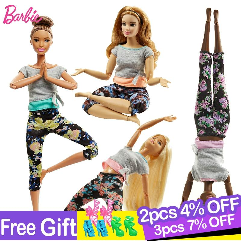 Original Barbie Gymnastics Yoga Sports Doll Barbie All Joints Move Doll Educational Toy Girl Christmas Birthday Toys Gift DHL81