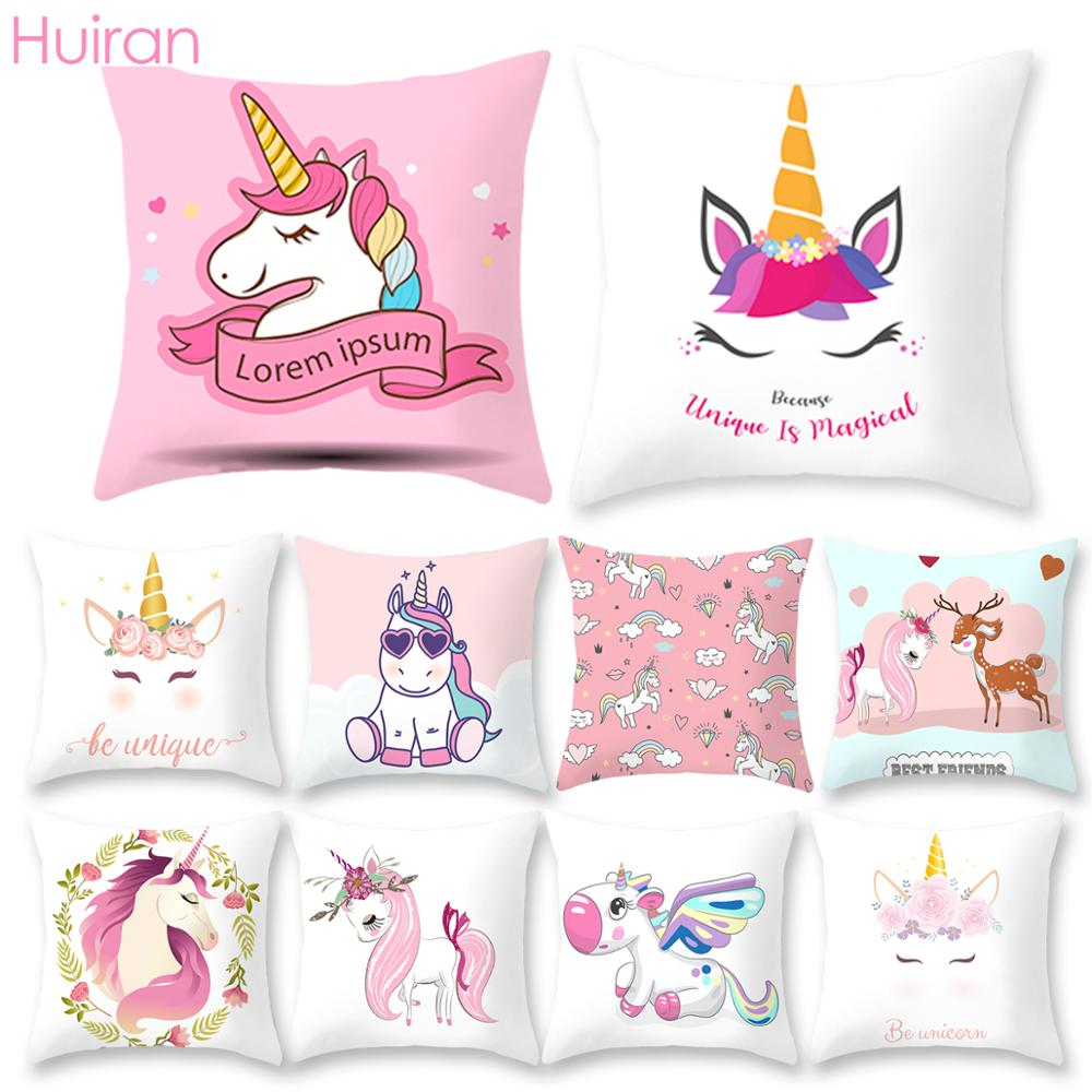 Unicorn Pillow Case Cover Unicorn Cushion Cover Sofa Seat Covers Car Bedroom Decor For Kid Unicorn Pillowcases Polyester Throw