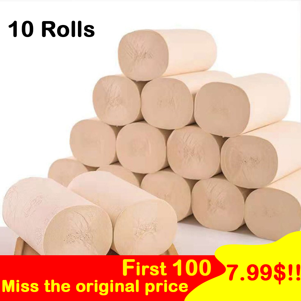 10PCS/Set Toilet Roll Bamboo Pulp Paper Paper 4 Layers Home Bath Toilet Roll Paper Primary Wood Pulp Toilet Paper Tissue Roll
