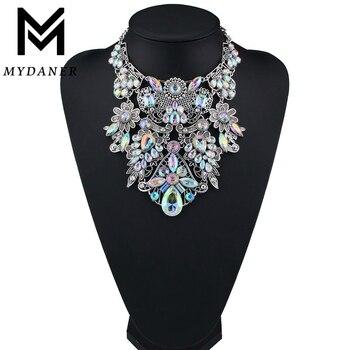 Женское Ожерелье MYDANER, разноцветное ожерелье-чокер со стразами и не сужающимся книзу воротником