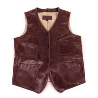 Restore ancient ways to cultivate one's morality heavy oil wax do old cowhide leather leather vest male