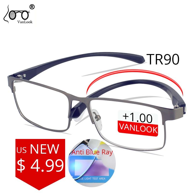 Мужские очки для чтения Vanlook с защитой от синего излучения, очки из нержавеющей стали TR90, 1,5, 2,0, 2,5, 3,0, 3,5, 4,00