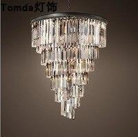 American Spiral Crystal Creative Living Room Restaurant Hotel Club Villa Light Luxury Art Amber Ash Transparent Chandelier