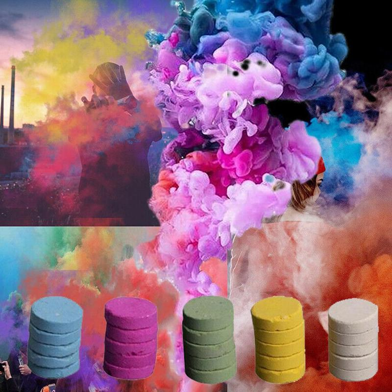 5pcs/set Colourful Smoke Pills Halloween Props Combustion Smog Cake Effect Smoke Bomb Pills Portable Photography Prop