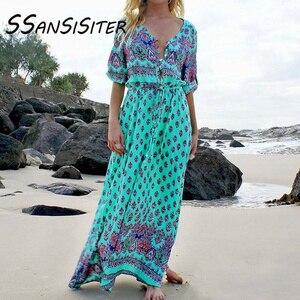 Женское Макси-платье 5XL с принтом, сексуальные платья с v-образным вырезом и рукавом до локтя, платья с высоким разрезом, богемные сарафаны ...