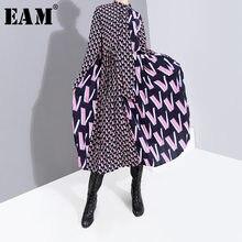 EAM-vestido con estampado de manga larga para primavera y otoño, traje de corte holgado con estampado de patrón dividido y cuello de lazo, a la moda, 19A-a872, 2021