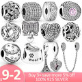Hot! 925 Sterling Silver Clear CZ Daisy Flower Clip Tower Star Heart Charm Beads Fit Original Pandora Bracelet Silver Jewelry