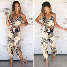 Women Floral Baggy Trousers Overalls Pants Solid Romper Jumpsuit Off Shoulder V Neck Bodycon Skinny Jumpsuit Romper Clubwear