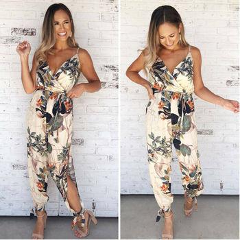 Women Floral Baggy Trousers Overalls Pants Solid Romper Jumpsuit Off Shoulder V Neck Bodycon Skinny Jumpsuit Romper Clubwear