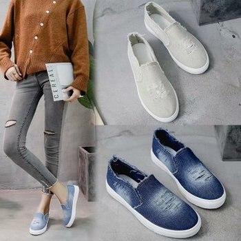 Nuevos zapatos de mujer de primavera y otoño, zapatos de mezclilla transpirables de moda, zapatos casuales para mujer, mocasines de marca de alta calidad
