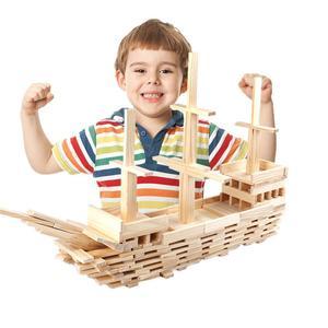 Image 2 - Ahşap inşaat yapı modeli tuğla blokları çocuk zeka geliştiren oyuncak 100 ahşap pano DIY Set oyun arkadaş çocuklar hediye