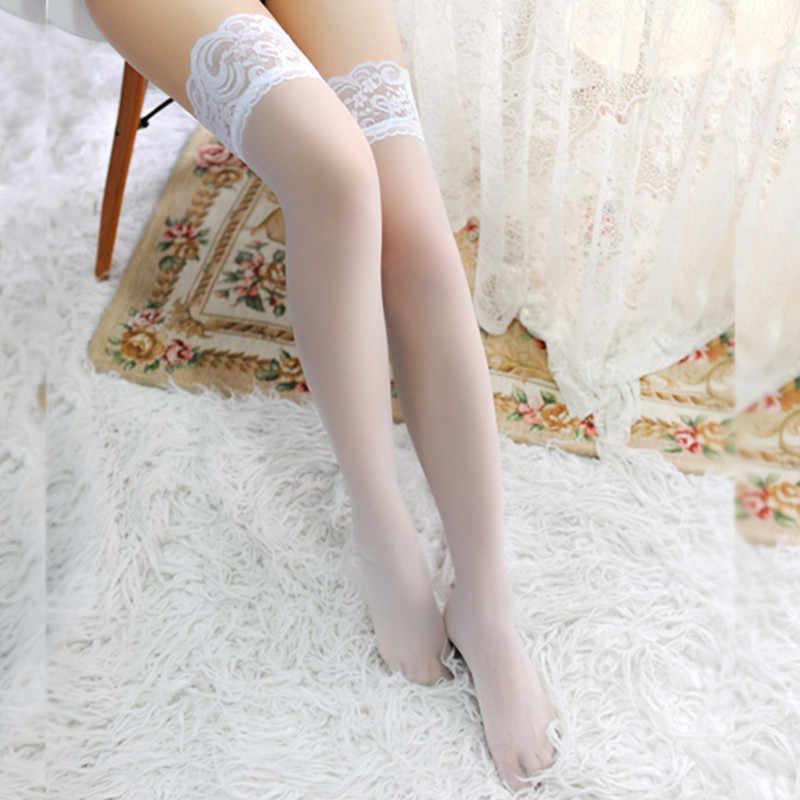 Sexy Frauen Lace Top Stay Up Oberschenkel Hohe Strümpfe Nachtclubs Strumpfhosen Fashion Stylist Damen Transparent Spitze Strumpfwaren