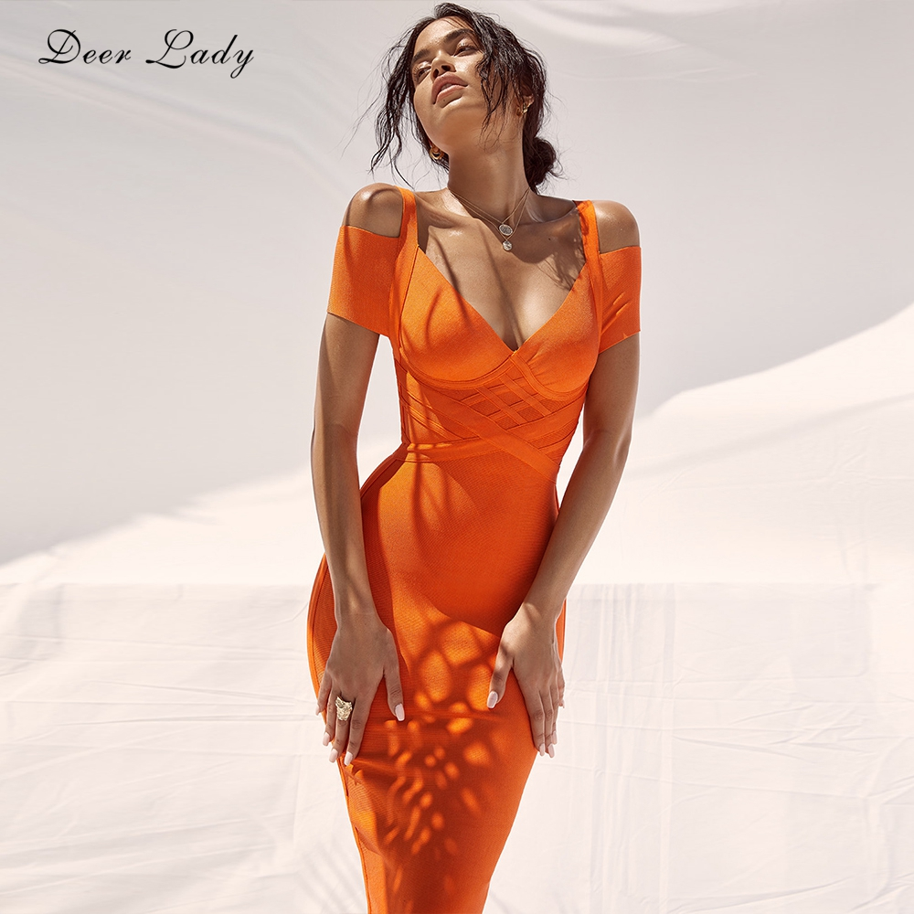 Women Bandage Dress Kendall Jenner Outfits Elegant Summer Off Shoulder Bandage Dress Orange Sexy Bodycon Dress Party Club