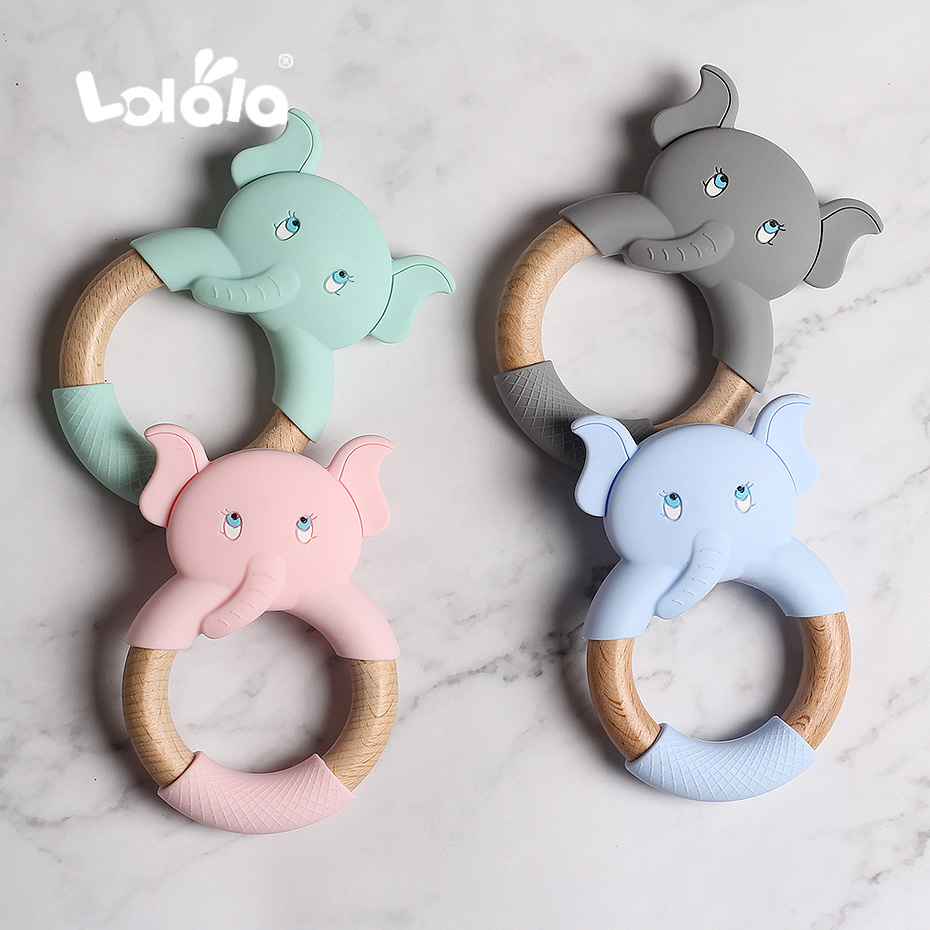 Silicone Teethers Cartoon Natural Beech Wood Elephant Sheep Teething Wooden Ring DIY Baby Christmas Gift Baby Teethers