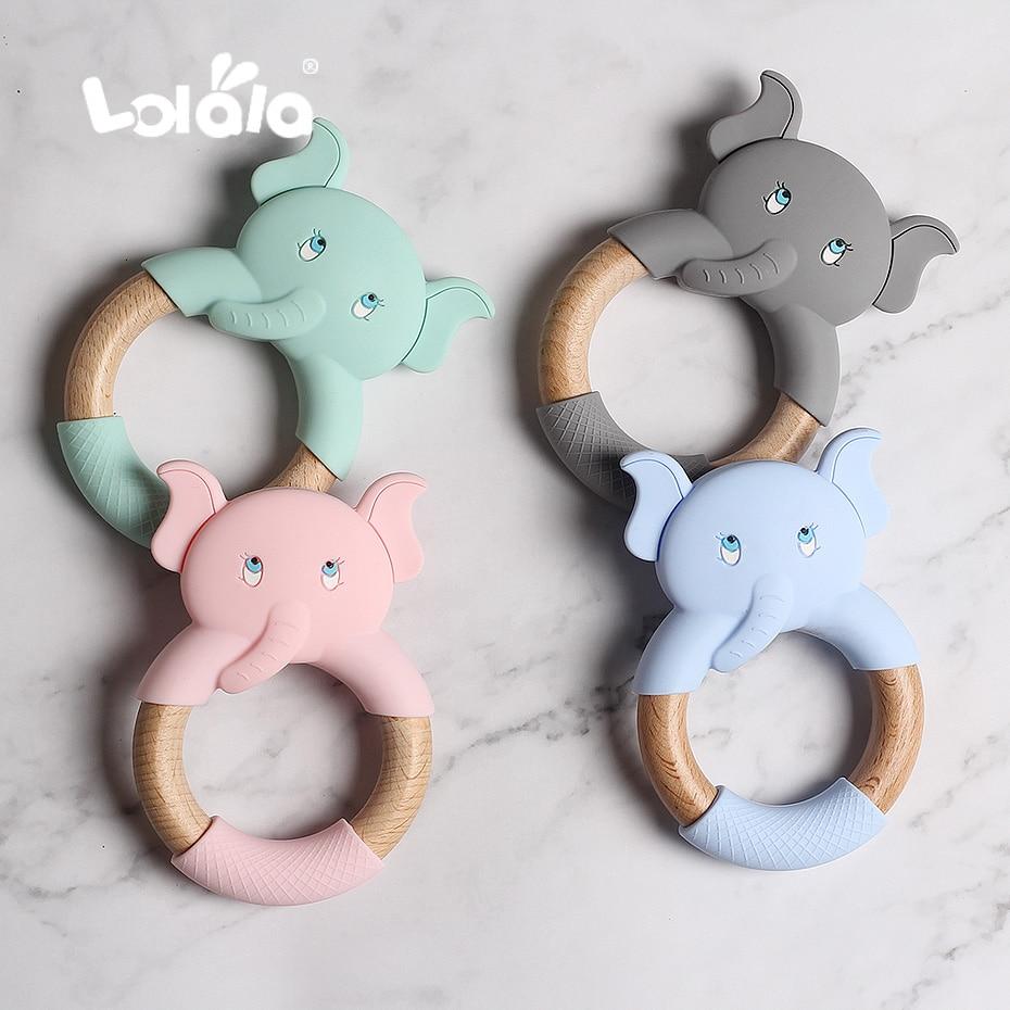 Silicone Teethers Cartoon Natural Beech Wood Elephant Sheep Teething Wooden Ring DIY Baby Christmas Gift Baby Teethers